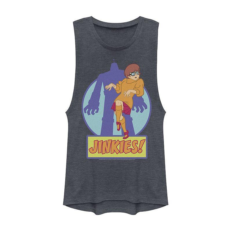 Juniors' Scooby-Doo Velma Jinkies Monster Shadow Muscle Tee. Girl's. Size: XS. Blue