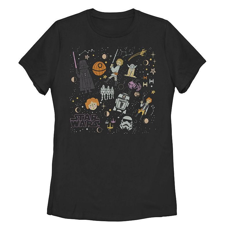 Juniors' Star Wars Celestial Comic Collage Tee, Girl's, Size: XXL, Black