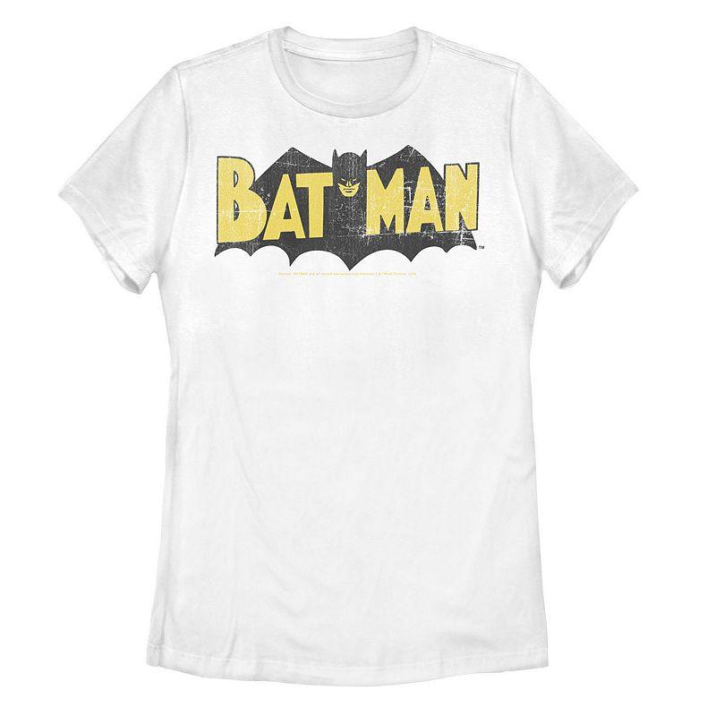 Juniors' DC Comics Retro Batman Large Block Text Logo Tee. Girl's. Size: Small. White