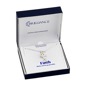 Brilliance Cross & Heart Pendant Necklace with Swarovski Crystal