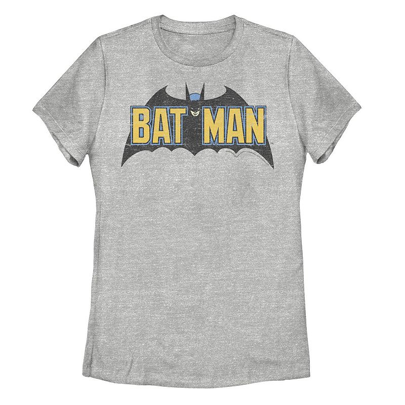 Juniors' DC Comics Batman Distressed Vintage Text Logo Tee. Girl's. Size: Small. Grey