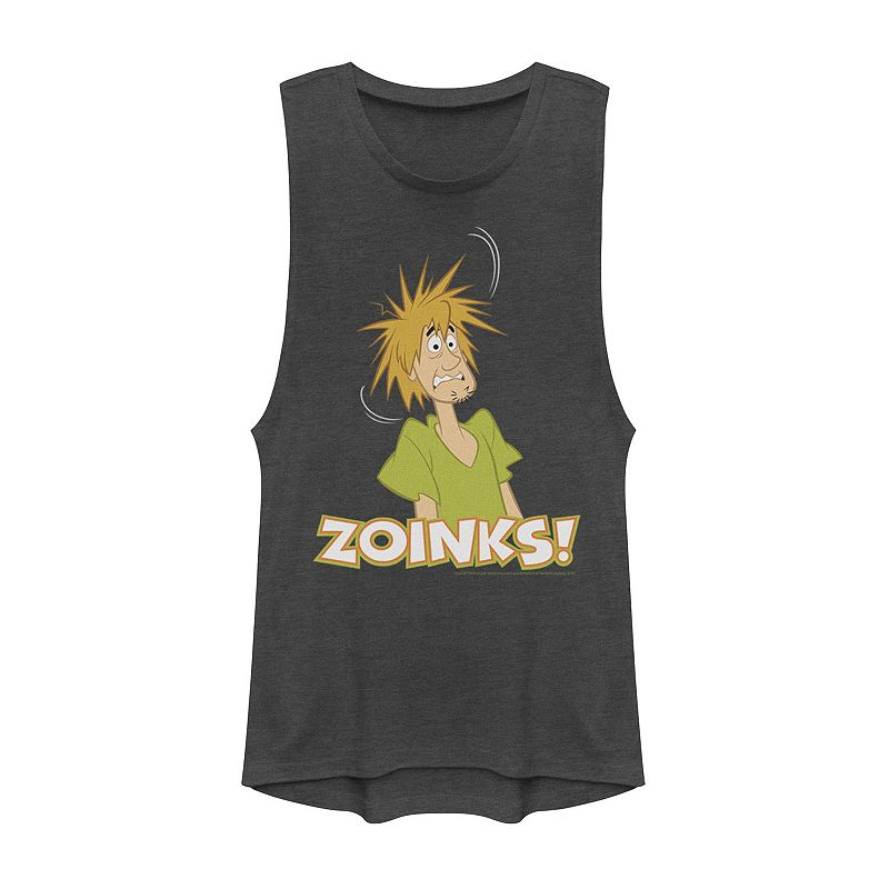 """""""Juniors' Scooby-Doo Shaggy Shocked """"""""Zoinks"""""""" Muscle Graphic Tee. Girl's. Size: XS. Grey"""""""