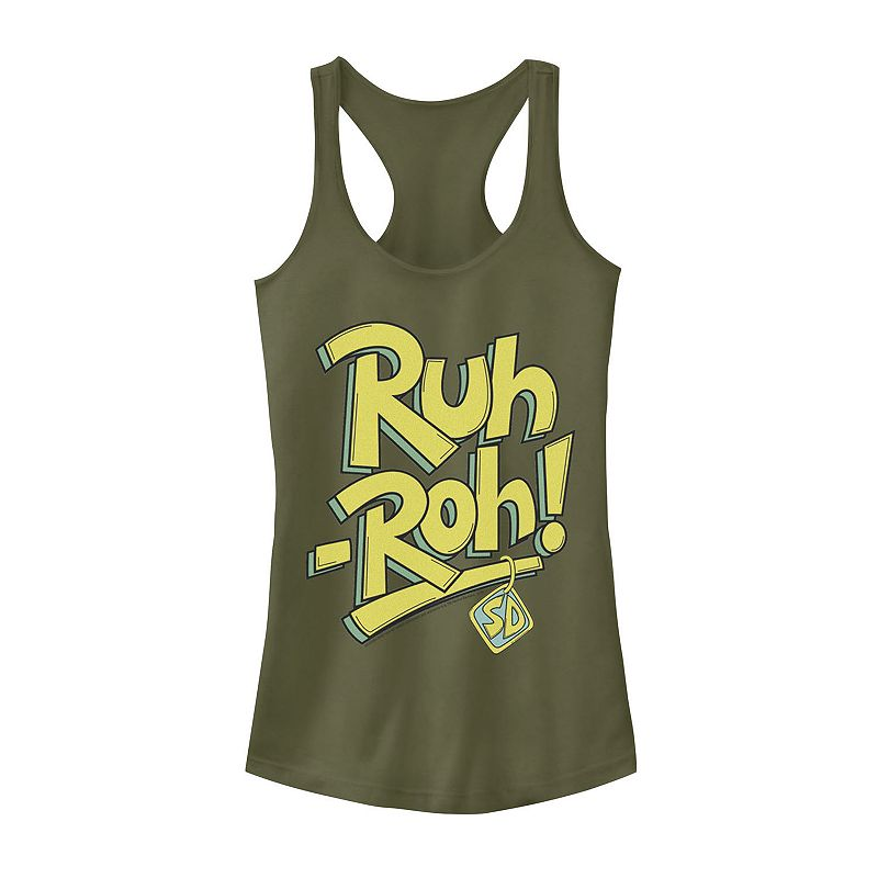 """Juniors' Scooby-Doo """"Ruh-Roh"""" Graphic Tank. Girl's. Size: Small. Green"""