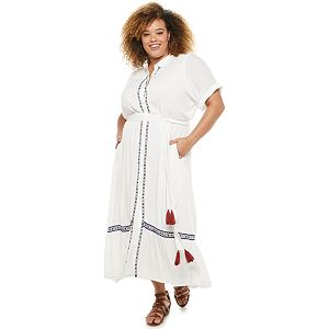 Plus Size Sonoma Goods For Life® + Now & Gen? Embroidered Maxi Shirtdress