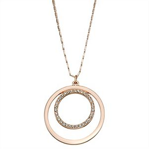 Rose Gold Tone Pave Double Circle Pendant Necklace