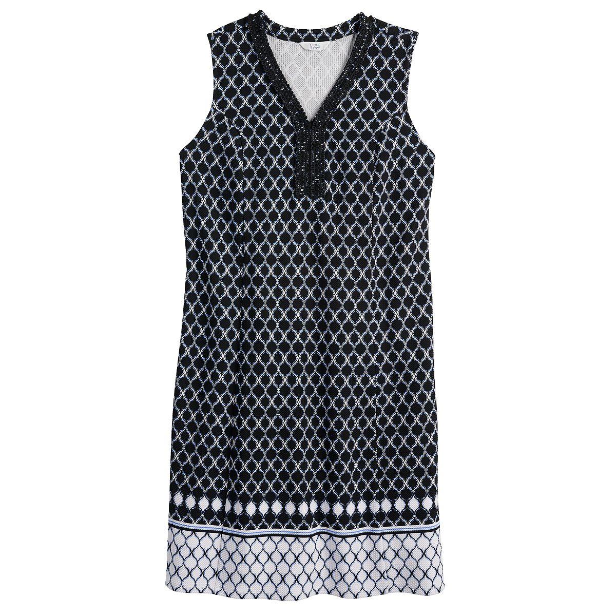 Women's Croft & Barrow® Polished Splitneck Dress Black White Print RTQeL