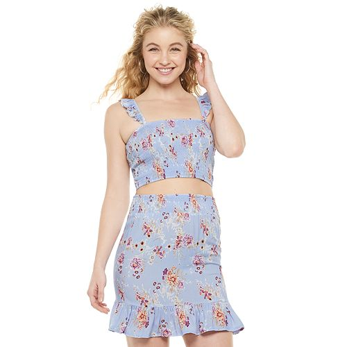 Juniors' Almost Famous Ruffled Strap Smocked Crop Top & Flounce Skirt Set