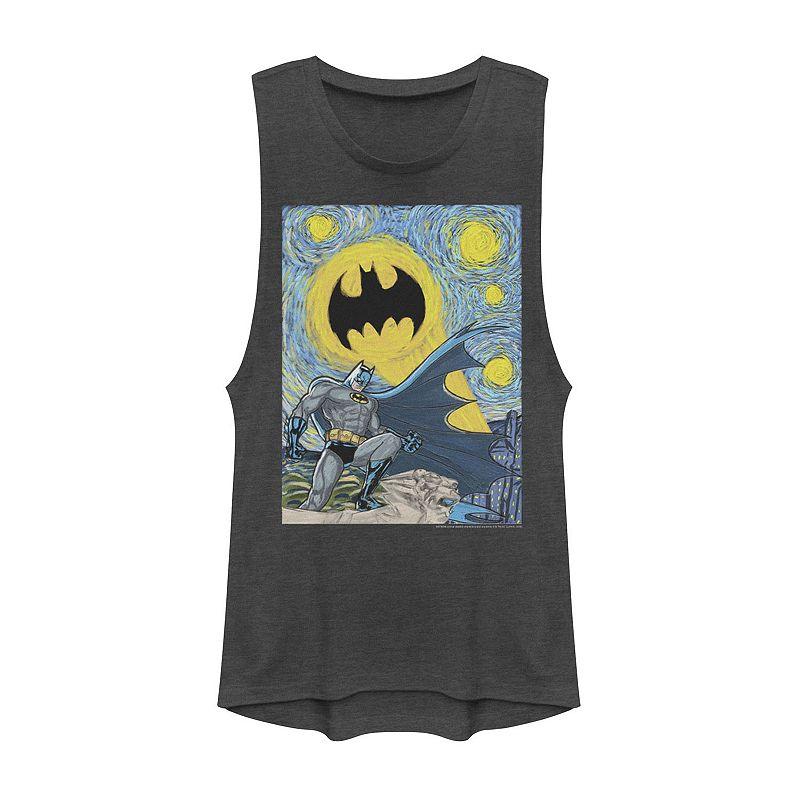 Juniors' DC Comics Batman Starry Night Poster Muscle Tee. Girl's. Size: XS. Grey