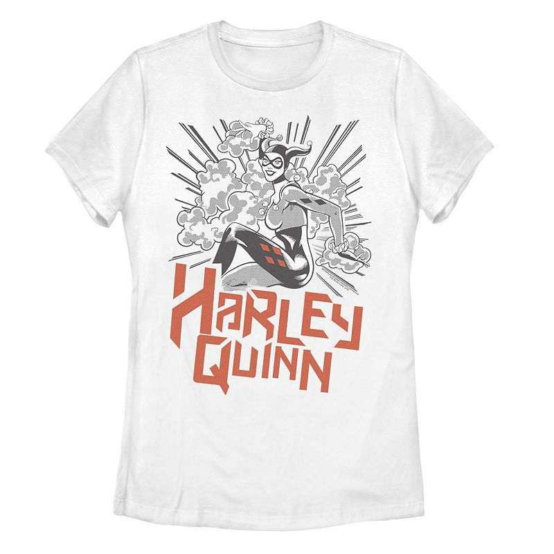 Juniors' DC Comics Batman Harley Quinn Tee. Girl's. Size: Small. White