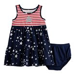 Baby Girl Jumping Beans® Patriotic Racerback Tiered Dress