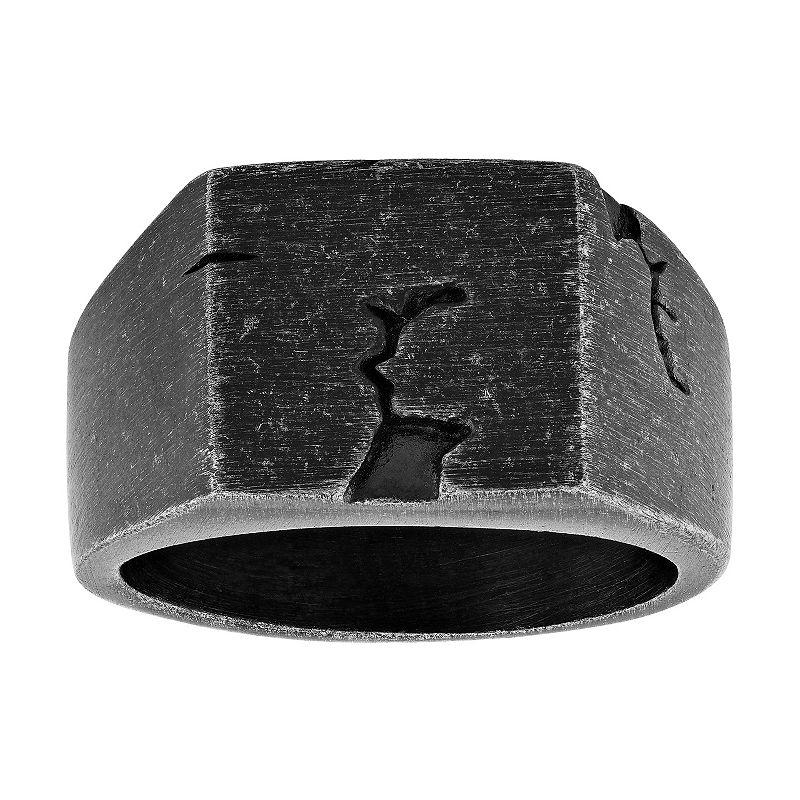 Men's Stainless Steel Rustic Signet Ring, Size: 10, Dark Grey