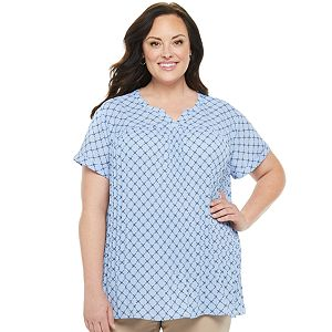 Plus Size Croft & Barrow® Pleated Front Top