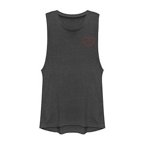 Juniors' Outlined Heart Pocket Muscle Tee