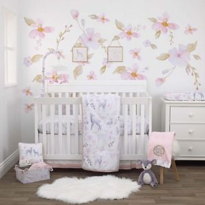 Girls NoJo Watercolor Deer 4 Piece Nursery Crib Bedding Set