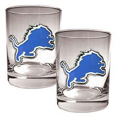 Detroit Lions 2 pc Rocks Glass