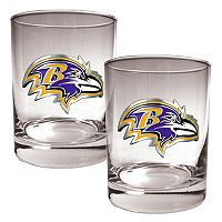 Baltimore Ravens 2 pc Rocks Glass Set
