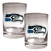 Seattle Seahawks 2 pc Rocks Glass Set