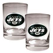 New York Jets 2 pc Rocks Glass Set