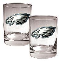 Philadelphia Eagles 2 pc Rocks Glass Set