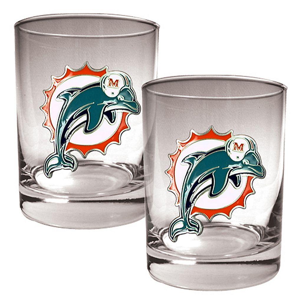 Miami Dolphins 2-pc. Rocks Glass Set