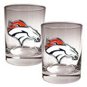 Denver Broncos 2 pc Rocks Glass Set