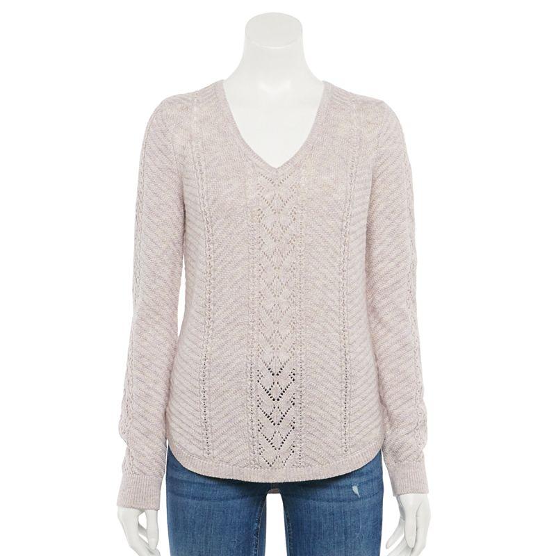 Women's Sonoma Goods For Life Pointelle Sweater. Size: XS. Lt Purple