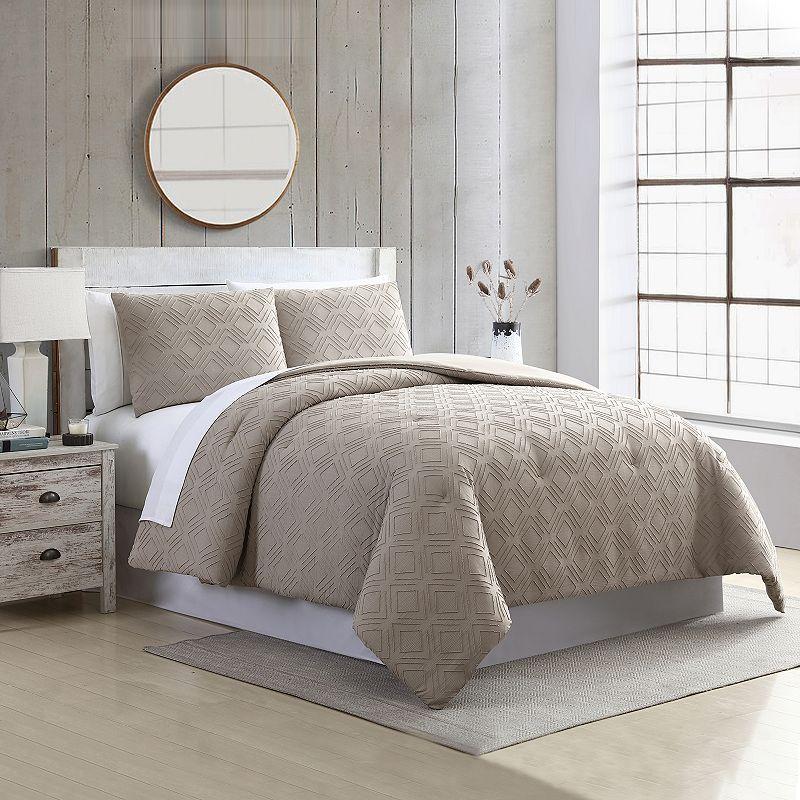 Modern Threads Queen 3-piece Comforter & Sham Set. Med Beige