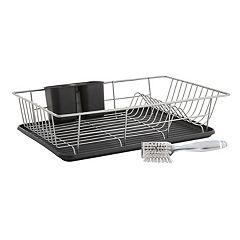 Farberware® 3 pièces. Égouttoir à vaisselle avec brosse pour évier
