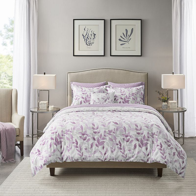 Madison Park Essentials Thelma Reversible Complete Bedding Set. Purple. Queen