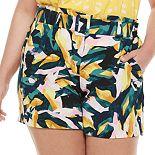 Plus Size Apt. 9® Belted Crepe Shorts