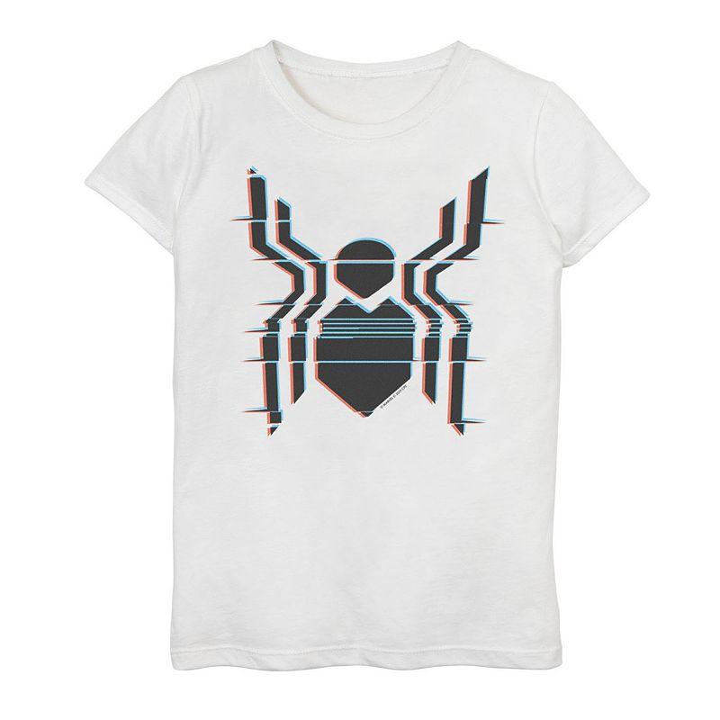 Girls 7-16 Marvel Spider-Man Far From Home Glitch Logo Tee, Girl's, Size: XL, White