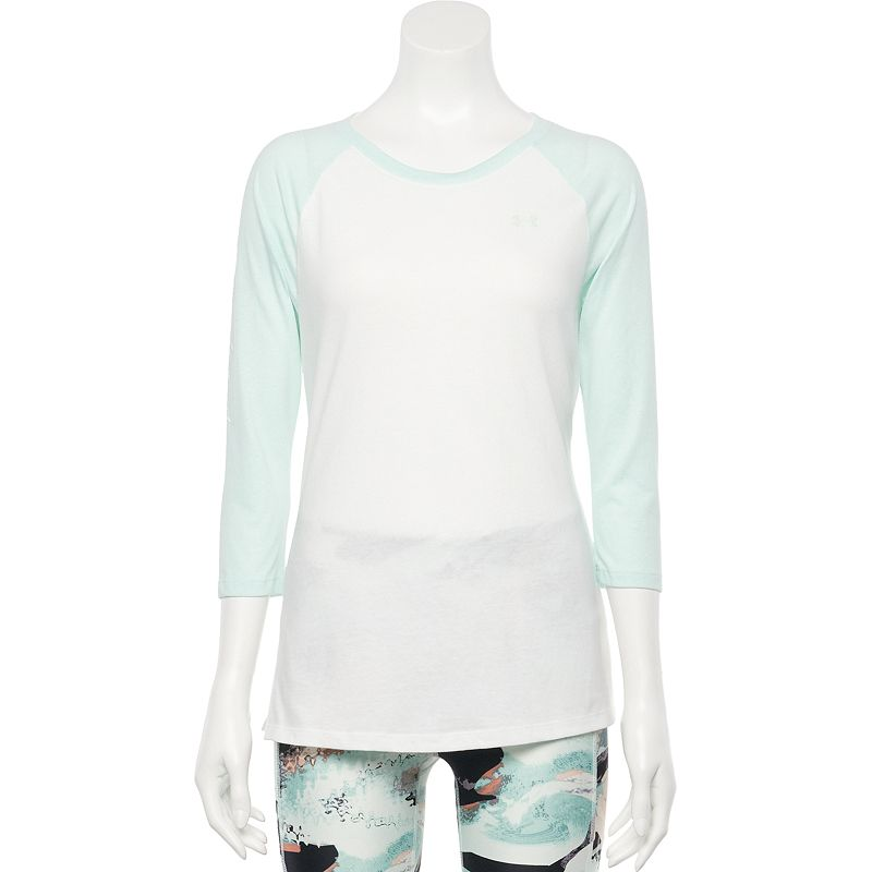 Women's Under Armour Charged Cotton Colorblock Tee, Size: XL, White