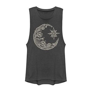 Juniors' Lace Moon Portrait Muscle Tee