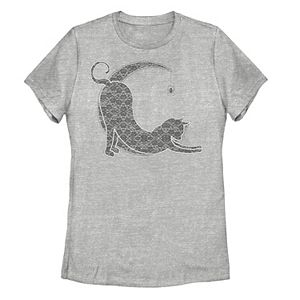 Juniors' Halloween Lacey Black Cat Crescent Moon Tee