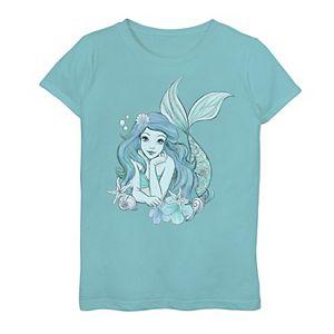 Girls 7-16 Disney The Little Mermaid Ariel Teal Sketch Graphic Tee