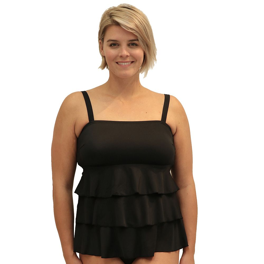 Plus Size A Shore Fit Tiered D-Cup Tankini Top