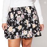 Juniors' Plus Size Vylette? Button-Front Skater Skirt