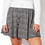 Juniors' Plus Size Vylette? Button-Front Skater Skirt