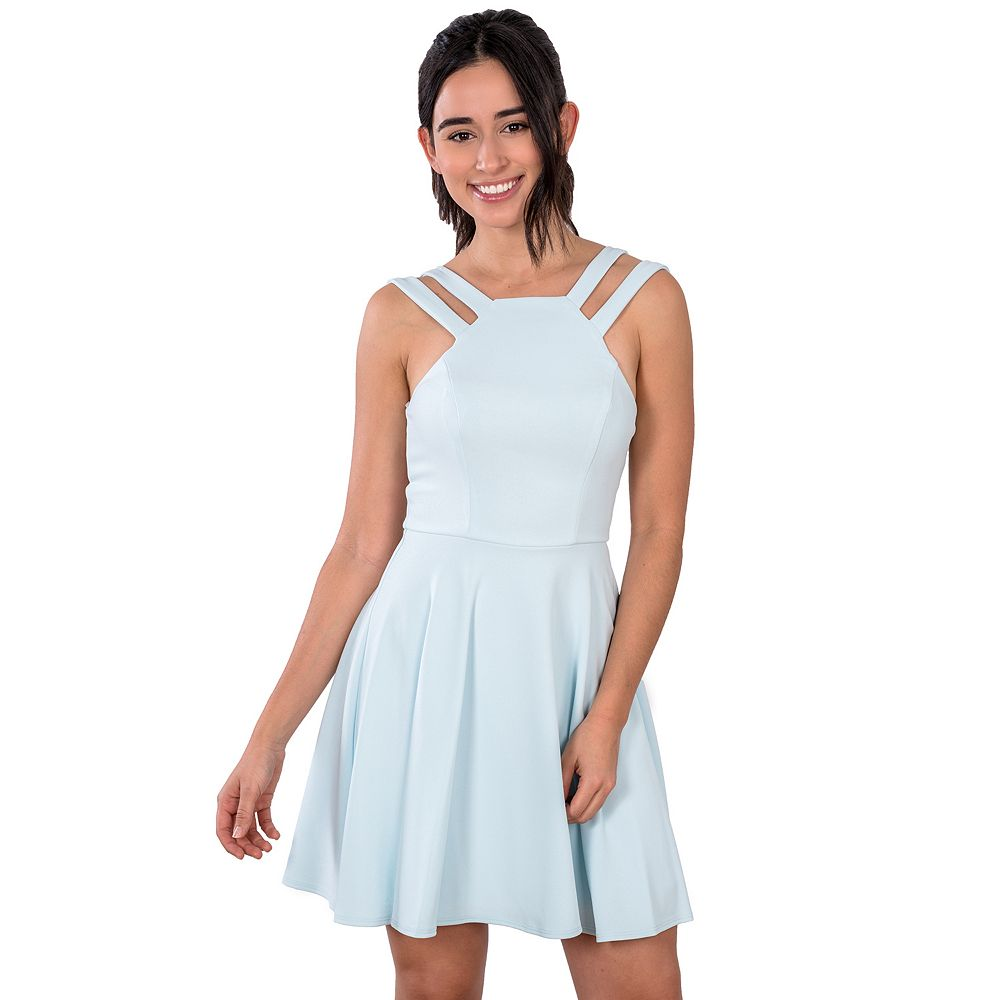 Juniors' B. Smart Double Strap Square Neck Skater Dress