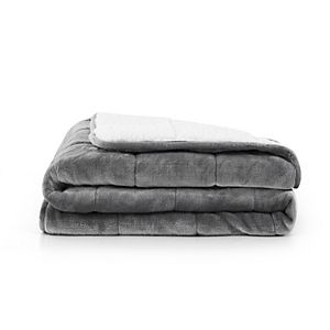 Rejuve Solid Shiny Velvet Reversible to Sherpa Weighted Throw - 10-lbs.
