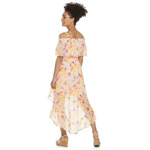 Juniors' Lily Rose Smocked Off-the-Shoulder Maxi Dress