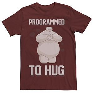 Men's Disney Big Hero 6 Baymax Programmed To Hug Valentine's Day Tee