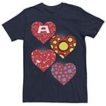 Men's Marvel Heroes Symbol Hearts Valentine's Tee