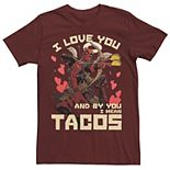 Men's Marvel Deadpool Cupid Love For Tacos Tee