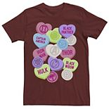 Men's Marvel Valentine's Candy Heart Avengers Icons Tee