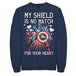 Men's Marvel Captain America Shield Heart Valentine Sweatshirt