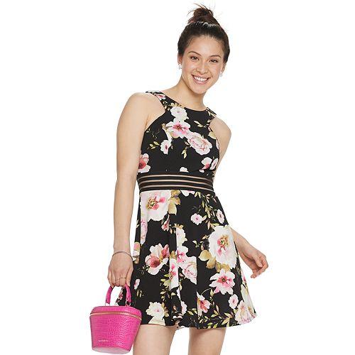 Juniors' Speechless Sleeveless Floral Skater Dress with Illusion Waist