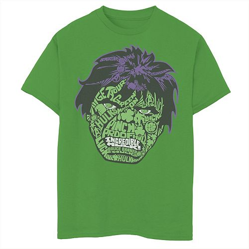 Boys 8-20 Marvel Hulk Luck Icons Face Graphic Tee