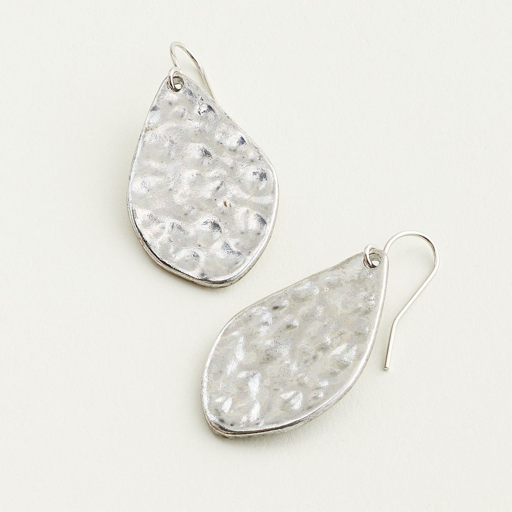 Elizabeth and James Hammered Oval Drop Earrings