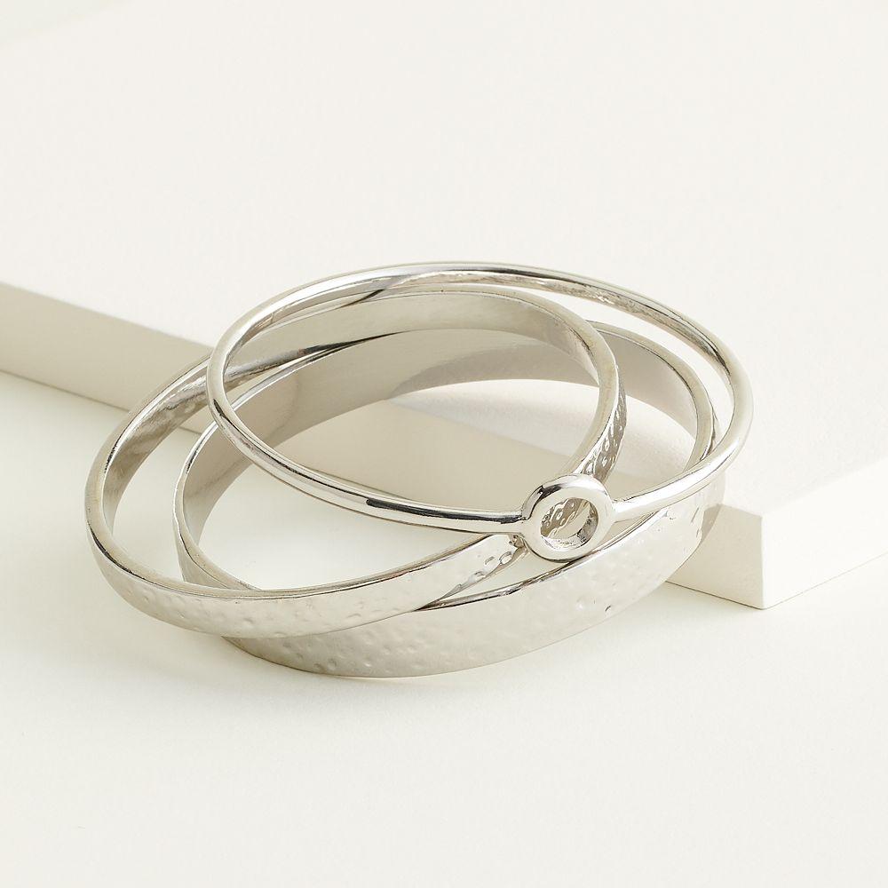 Elizabeth and James Hammered Bangle Bracelet Set